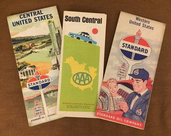 FREE SHIPPING - Trio of vintage 1960s Maps