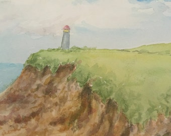 FREE SHIPPING - Original Vintage Watercolor, Lighthouse.  Two For One