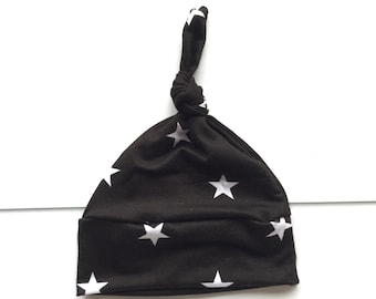 Modern Baby Knot Hat, Newborn hat, soft black with white stars fabric ,  going home outfit