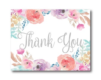 Floral Wedding Thank You Card, Watercolor Floral, Floral Thank You Card, Watercolor Thank You, Wedding Thanks, Wedding Thank You Card #CL198