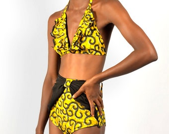 Zinzi Print And Black Swimwear