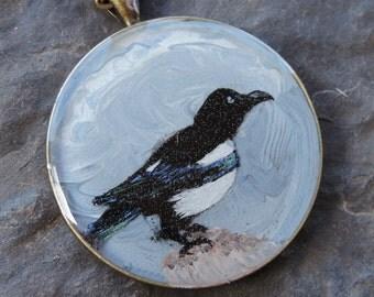 SALE! 30% off - Magpie Painting Pendant