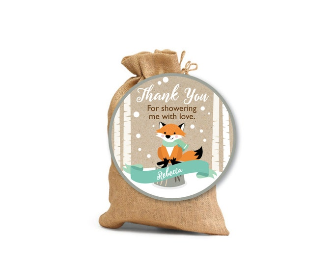 Winter Woodland Thank You Tags / Favor Tags / Birthday Party or Baby Shower Decor / Mint / Gender Neutral Fox