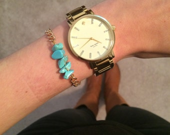 Turquoise Small Rock Bracelet w/ Gold Chain