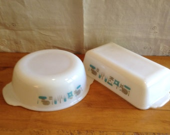 BLUE HEAVEN by Fire King-Anchor Hocking.  Atomic Design. 1970's. Set of Two Baking Dishes. Loaf Pan and CASSEROLE with Handles.