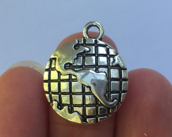 4 Globe Charms Antique Silver 23mm x 19mm - SC969