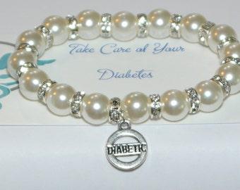 diabetes bracelet - medical alert - medical id - type 1 bracelet - type 2 bracelet - medical bracelet - med alert - gift for diabetic