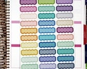 33 Functional Planner Stickers. Two Tone scalloped labels, Designer colors for Horizontal, Hourly Erin Condren Life Planners or Inkwell