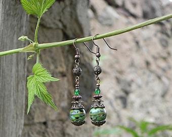 Vintage Style Earrings, Brass Earrings, Victorian Earrings, Glass Drop Earrings, Brass Jewelry, Boho Dangle Earrings, Green Glass Earrings