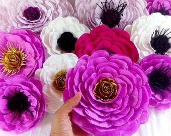 10 paper flowers Wall decor bridal large giant kate shower spade baby poppy backdrop Wedding purple lavander gold birthday party Nursery