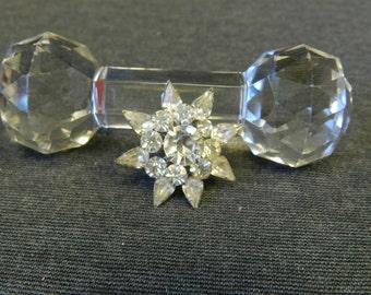 "Vintage Signed Coro Clear Rhinestone Brooch/ Pin 1-1/2"" - 1950s - Bridal"