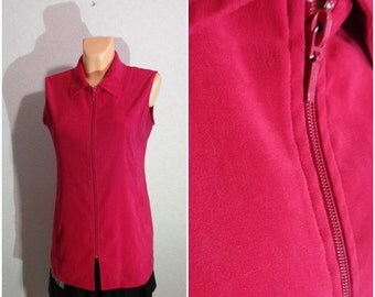 Vest #Zipper Lock #color raspberry #Medium Size
