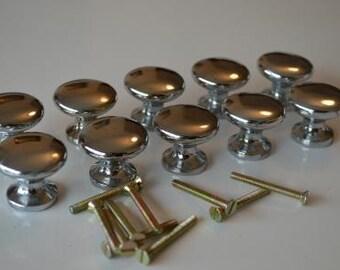 10 retro style 1 1/4 inch chrome door knobs KH2
