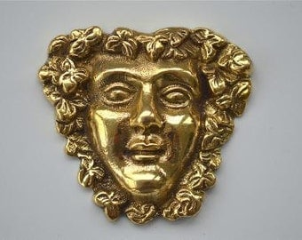 Antique style Bacchus head solid brass furniture mount ormolu god of wine H5