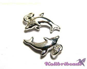 2x Dolphin Charm 15 mm - Silver plated