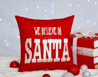 50% OFF Christmas Pillow, We believe in Santa Pillow Christmas kids pillow, Christmas kids Gift, Decorative Pillow