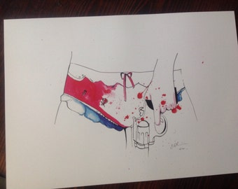 The girl with the pistol, signed limited print A3