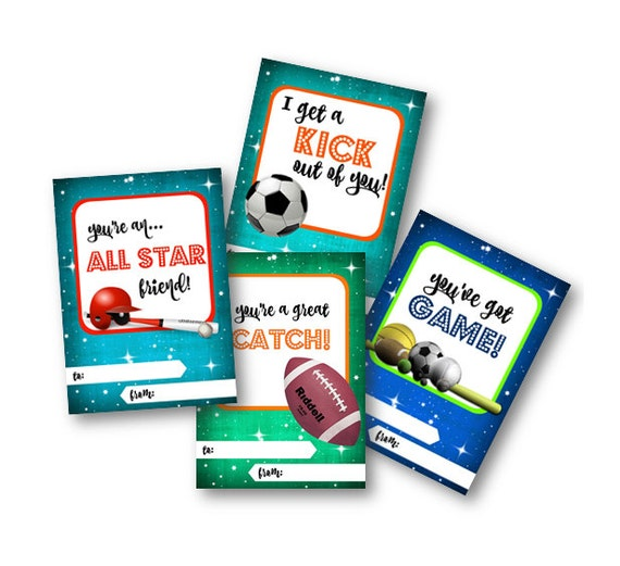 printable valentines day cards for boys sports school class