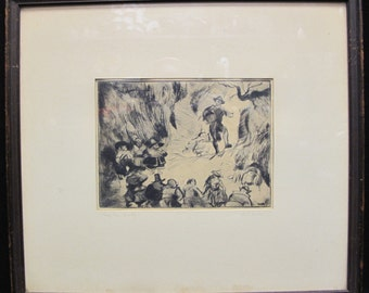Antique 1940s Samuel Filner Etching Titled Rip Van Winkle
