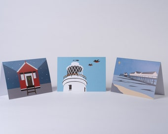 Coastal themed Christmas Cards, Pack of 9