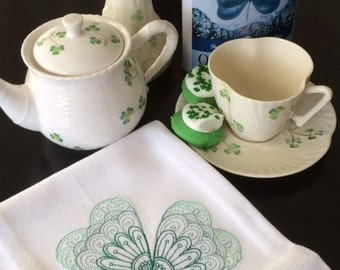 St. Patrick's Embroidered Shamrock Tea Towel - Celtic Kitchen Decor