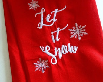 Let it Snow Embroidered tea Towel