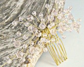 Blush Bridal hair comb - Blush Bridal headpiece - Blush Crystal Bridal headpiece - Wedding headpiece - Jeweled headpiece