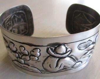 Sanborns Mexican Sterling Repousse Cuff Bracelet