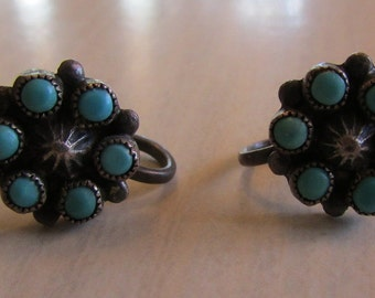 Sterling Silver and Cluster Turquoise Screw Back Earrings