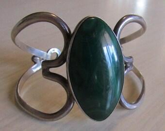 Sterling Silver and Malachite Cuff Bracelet 1977 Estle Harp