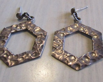 Hammered Sterling Silver Hexagon Dangle Post Earrings