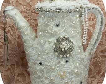 1/2 OFF Clearance Price - Shabby White Lace Teapot