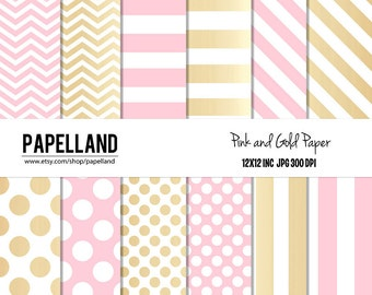 Pink and Gold Digital Paper Pack for scrapbooking, invitations, party decor, backgrounds 12x12 instant download