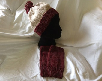 Red and brown knitted beanie and fingerless glove set