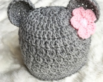 Bear Hat, Crochet Baby Bear Hat, Baby Bear Hat, Boy Bear Hat, Girl Bear hat, Knit Bear Hat, Baby Bear