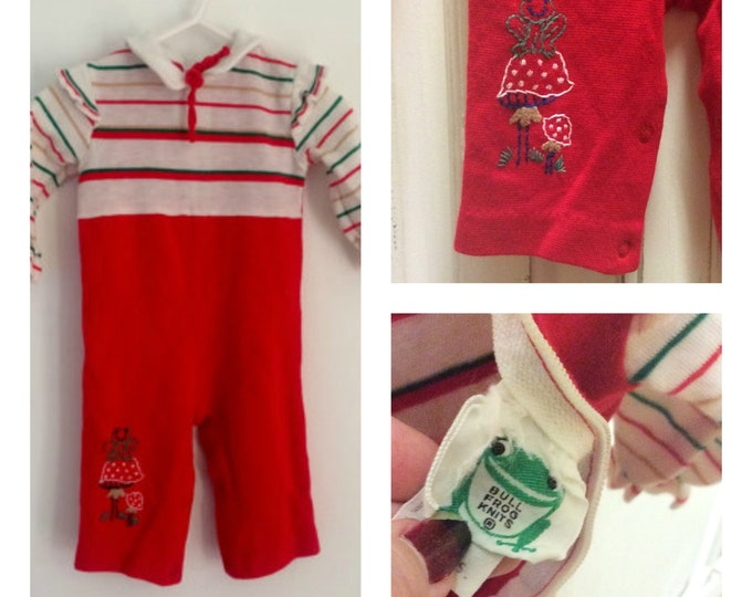 Featured listing image: 60s Christmas Romper, Baby Jumper, Holiday Onesie, Embroidered, Mushrooms, Bull Frog, Vintage Baby,  Size 6  12 mos, Bell Bottom, Cute Baby