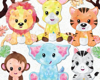 Watercolor Jungle animal clipart, Baby animals, Watercolor Safari clipart