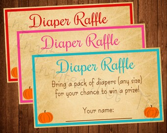 Adorable Fall Pumpkin Themed Baby Shower Diaper Raffle Card (Other Colors Available!)
