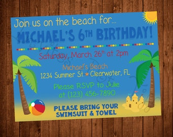 Beach Themed Printable Birthday Invitation