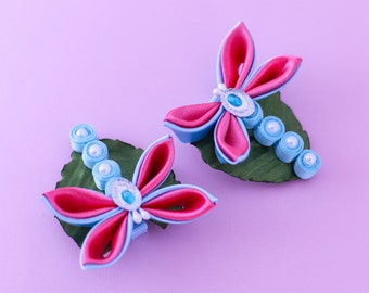 2 × Handmade Dragonfly Clips, Colorful  Hair Accessories with Dragonfly on the Leaves Clips