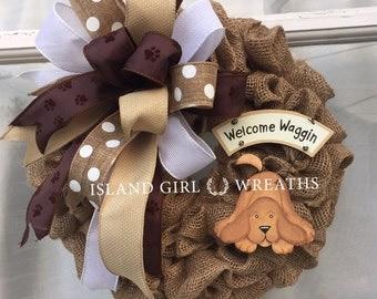 Dog Wreath, Pet Wreath, Burlap Dog Wreath, Welcome Dog Wreath
