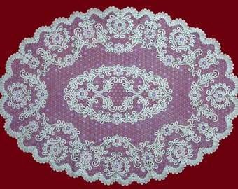 """Tablecloth lace oval """"Spring"""" Russian bobbin lace handmade"""