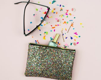Multi Glitter Party Clutch Purse Make Up Bag.