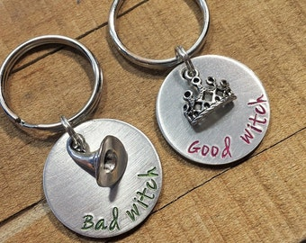 Good Witch Bad Witch - Best Friends Keychain - Wizard of Oz - Fairy Tale Gift - Wicked Witch keychain - Best Friends Gift - Wicked Witch