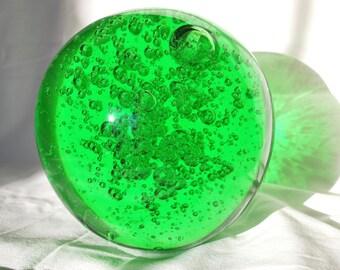 Paperweight , Blown Glass Emerald Ball , Window Display