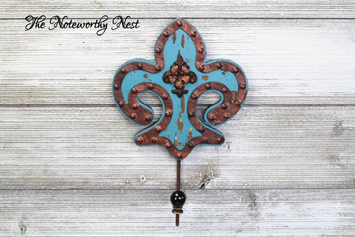 Clearance turquoise and copper fleur de lis hook coat hook - Fleur de lis coat hook ...