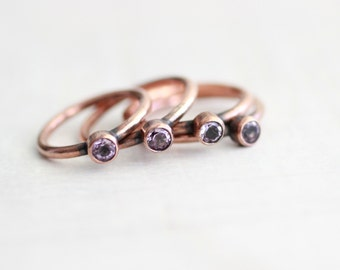 Amethyst Ring Copper Ring Natural Faceted Amethyst Ring Wedding Ring Gemstone Ring