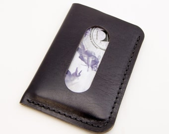 The Card Courier - Black Horween® Chromexcel Front Pocket Card Wallet