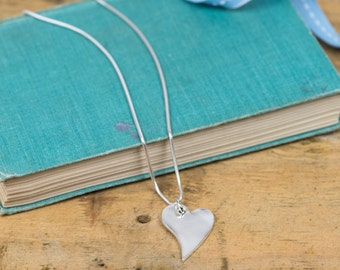 Silver Lazy Heart Pendant - Silver Curved Heart Necklace - Silver Heart Charm - Curved Heart Charm Necklace - Sterling Silver Necklace