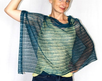 New Summer Ponchos- boho chic clothing -Linen green knitted- linen Cape - Linen Womens Boho- poncho knitted linen wrap